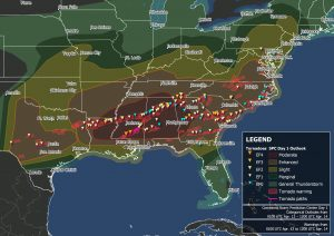 Map of the Southeast with tornadoes from April 12-14